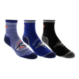 Toronto Blue Jays Half Terry Quarter Crew Socks - 3-Pack