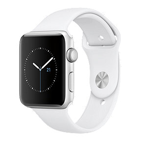 Apple Watch Series 2, 42mm Silver Aluminum with White Band