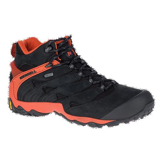ba934579d43 Merrell Men's Chameleon 7 Mid Waterproof Hiking Boots - Black/Fire