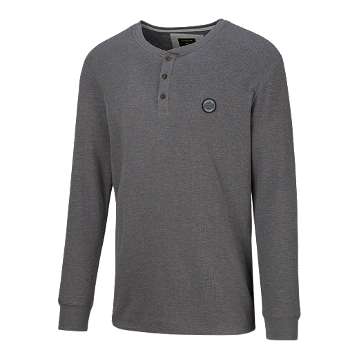 94d1345452 Quiksilver Men's Ocean Surface Long Sleeve Henley Shirt - Tarmac ...
