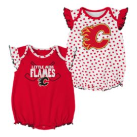 Calgary Flames Infant Girls' Hockey Hearts Creeper Set - 2-Pack