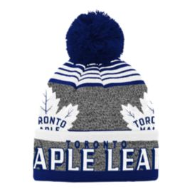 Toronto Maple Leafs Kids' Allover Jacquard Cuff Pom Knit