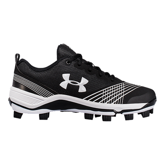 5d10e5c6583 Under Armour Women s Glyde TPU Low Baseball Cleats - Black White ...