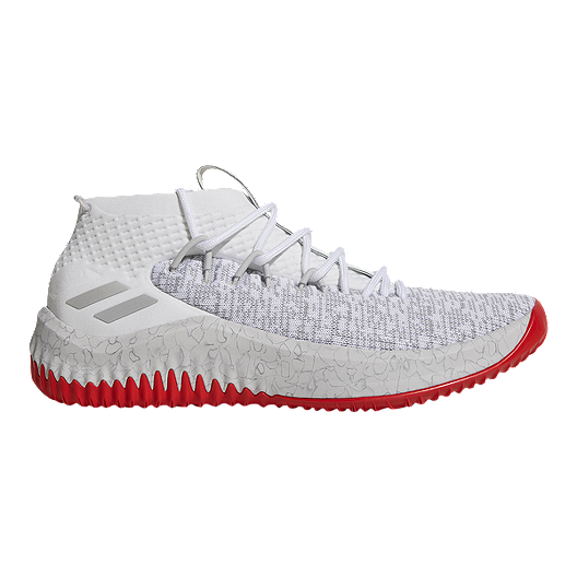 7cfcc5693b636 adidas Men s Dame 4 Basketball Shoes - White Grey Red