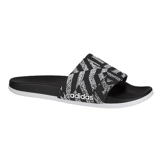 fdb848827635 adidas Women s Adilette CloudFoam Plus Link Sandals - Black White ...