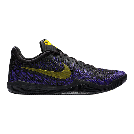 aee3407ba556 Nike Men s Mamba Rage Basketball Shoes - Black Yellow Purple - BLACK