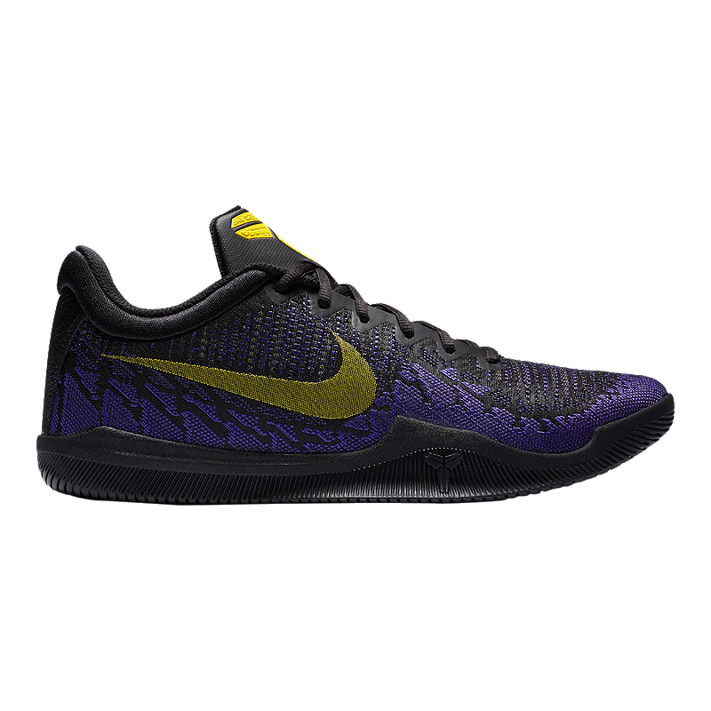 Nike Men s Mamba Rage Basketball Shoes - Black Yellow Purple  148d1023e8fa9