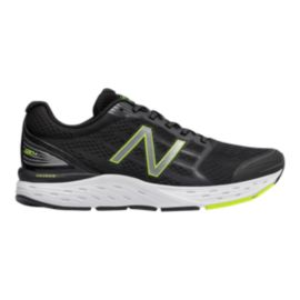 New Balance Men's 680v5 Running Shoes - Black/Grey/Lime