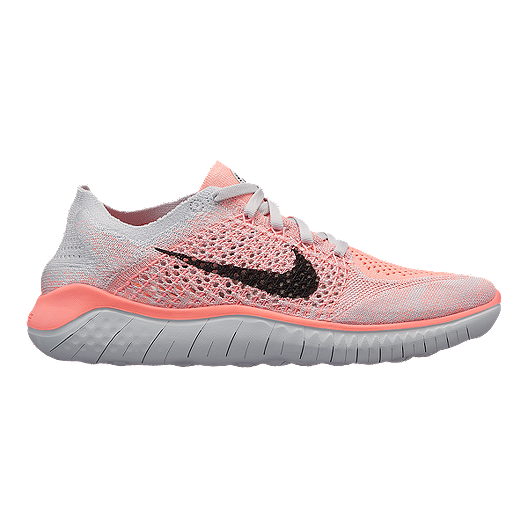 52a102aea80b Nike Women s Free RN Flyknit 2018 Running Shoes - Red Black Platinum ...