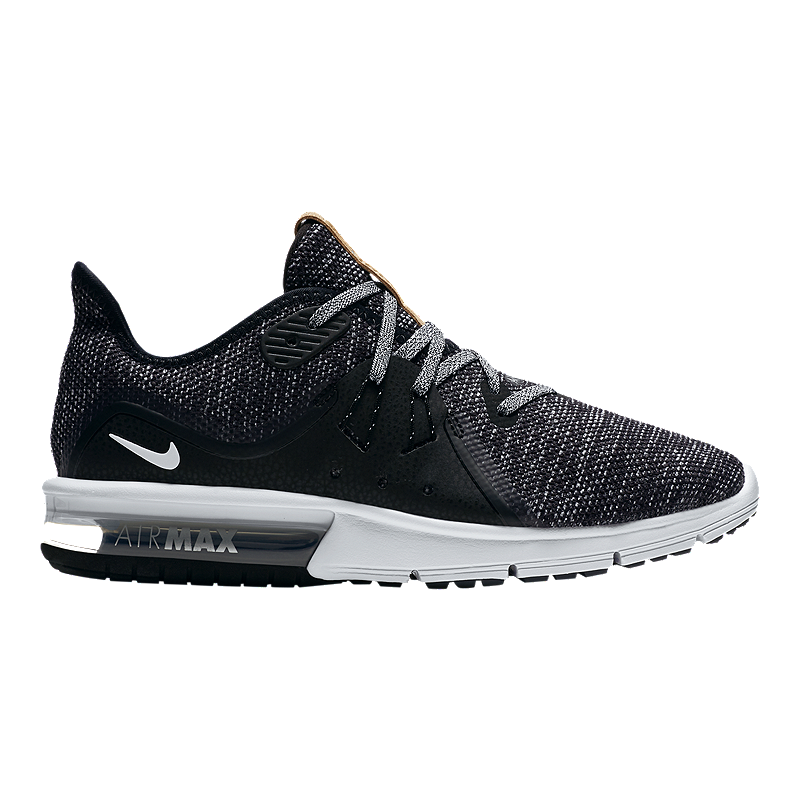 114378dde48 Nike Women s Air Max Sequent 3 Running Shoes - Black White Grey ...