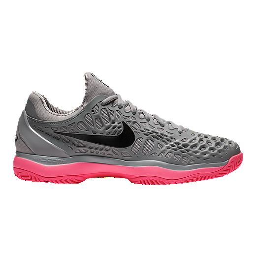 half off 082b5 73dc4 Nike Men s Air Zoom Cage 3 Tennis Shoes - Grey Black Pink - GRAY