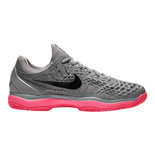 15053e4fdad Nike Men's Air Zoom Cage 3 Tennis Shoes - Grey/Black/Pink | Sport Chek