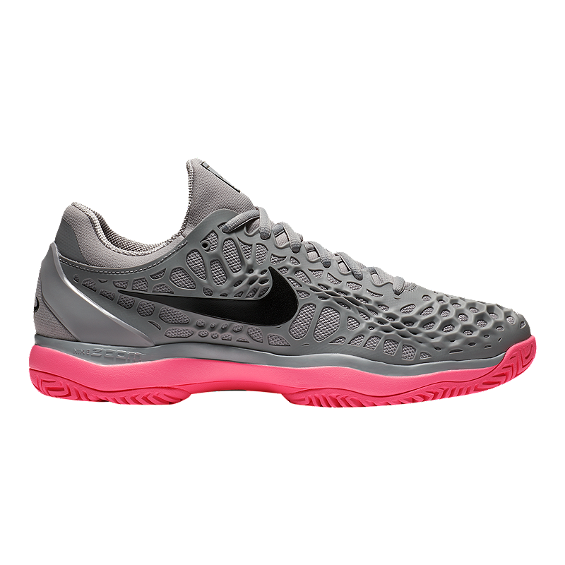 0313b5d3079f Nike Men s Air Zoom Cage 3 Tennis Shoes - Grey Black Pink