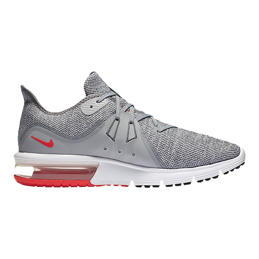 3207181360 Nike Men's Air Max Sequent 3 Running Shoes - Grey/Red | Sport Chek