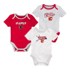 Calgary Flames Infant 3rd Down Creeper Set - 3-Piece