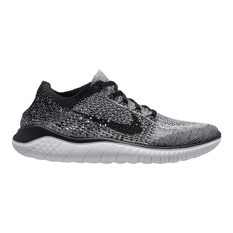 350e0d9bb26bd Nike Men s Free RN Flyknit 2018 Running Shoes - White Black