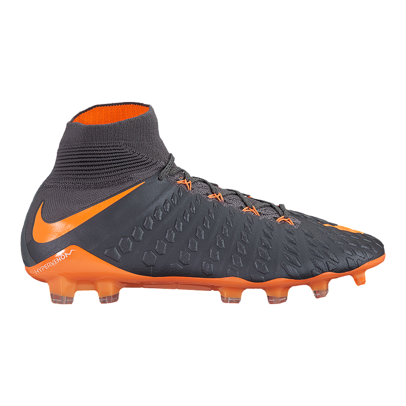 9ece9460d Nike Men s Hypervenom Phantom 3 Elite Dynamic Fit FG Outdoor Soccer Cleats  - Dark Grey Orange