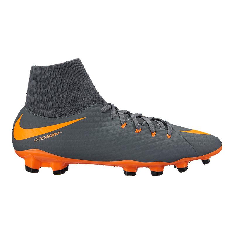 new style b8835 dc6f6 Nike Men's Hypervenom Phantom 3 Academy Dynamic Fit FG Outdoor Soccer  Cleats - Dark Grey/Orange