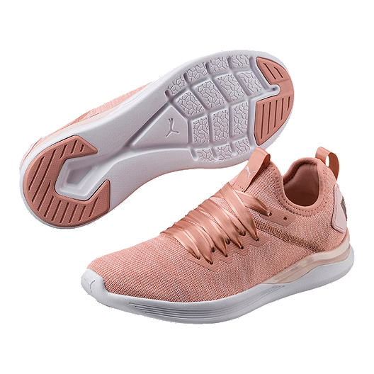 PUMA Women s Ignite Flash evoKNIT Satin Shoes - Pink  fd5ab5c21