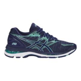ASICS Women's Gel Nimbus 20 D Wide Width Running Shoes - Blue/Green