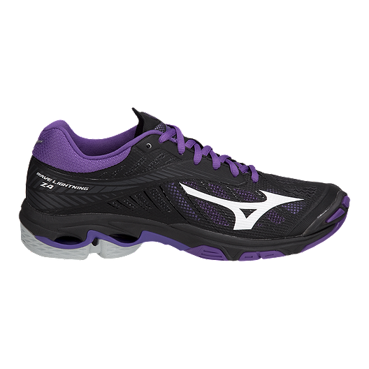 ae094797d09 Mizuno Women s Wave Lightning Z4 Indoor Court Shoes - Black Purple ...