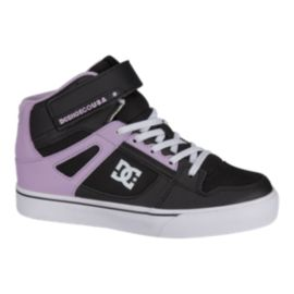 DC Girls' Pure High Top EV Skate Shoes - Black/Lav