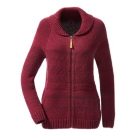 Woods Women's Azure Wool Sweater - Burgundy