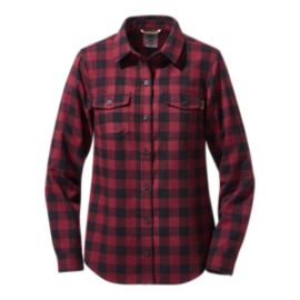 Woods Women's Peyto Flannel Long Sleeve Shirt - Burgundy/Ink