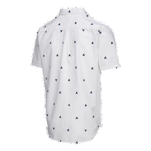 14cbd4e45 Vans Men's Houser Short Sleeve Woven Shirt - White Jungle Ditsy ...