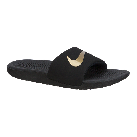 competitive price 00a29 ea58c Nike Girls' Kawa Slides - Black/Gold