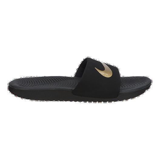 bdb40c1985caa6 Nike Girls  Kawa Slides - Black Gold