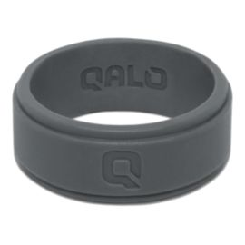 Qalo Men's Step Edge Silicone Ring - Charcoal