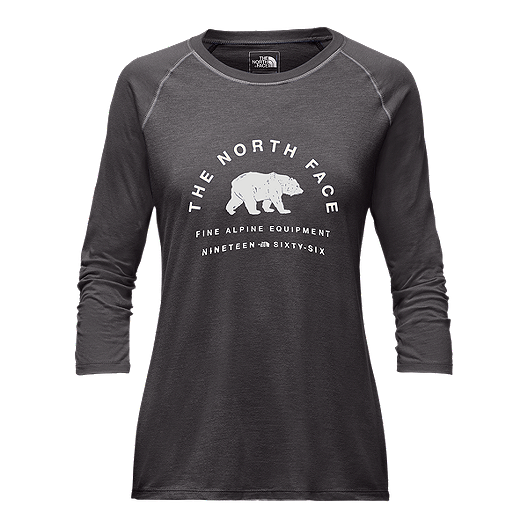0bb695645 The North Face Women's 66 Classic 3/4 Baseball T Shirt - Dark Grey ...
