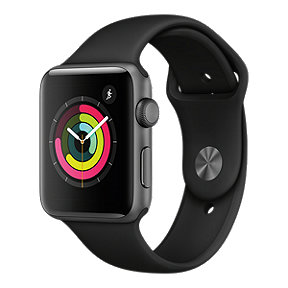 Apple Watch Series 3 GPS, 42mm Space Grey Aluminum Case with Black Sport Band