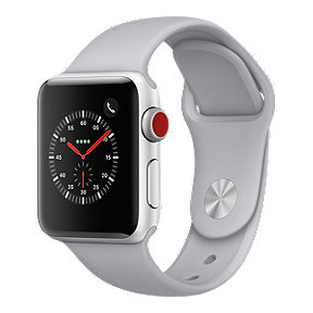 Apple Watch Series 3 GPS + Cellular, 38mm Silver Aluminum Case with Fog Sport Band