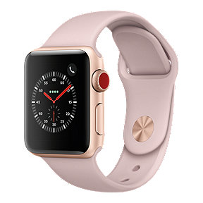 Apple Watch Series 3 GPS + Cellular, 38mm Gold Aluminum Case with Pink Sport Band