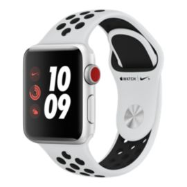 Apple Watch Nike+ Series 3 (GPS + Cellular), 38 mm Silver Aluminum Case with Pure Platinum/Black Nike Sport Loop