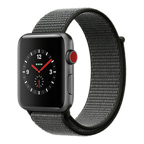 Apple Watch Series 3 GPS + Cellular, 42mm Space Grey Aluminum Case with Dark Olive Sport Loop Band