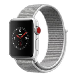 Apple Watch Series 3 GPS + Cellular, 38mm Silver Aluminum Case with Seashell Sport Loop Band
