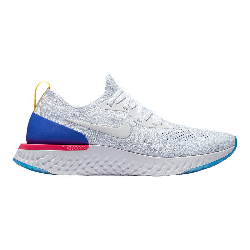887a370ecab1b Nike Women s Epic React Flyknit Running Shoes - White Blue Pink ...