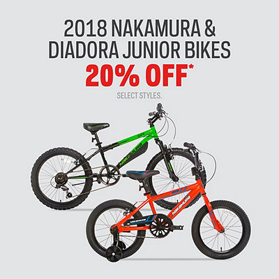 Select 2018 Nakamura & Diadora Junior Bikes 20% Off*