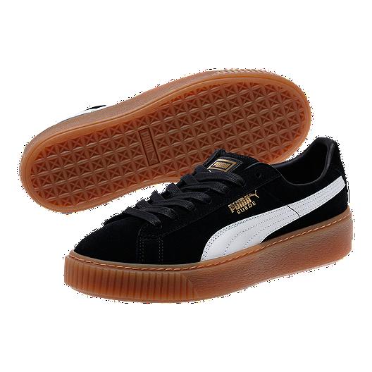 cheap for discount 3a3ce 45285 PUMA Women's Suede Platform (Core) Shoes - Black/White/Gum