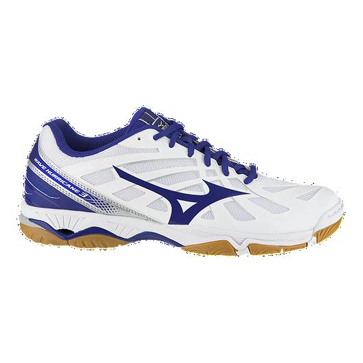 e488d96ad52fe Mizuno Men's Wave Hurricane 3 Indoor Court Shoes - White/Blue | Sport Chek