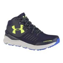 Under Armour Kids' OverDrive X Reactor Mid Grade School Hiking Boots - Navy/Lime/Gray