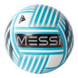 adidas Messi Glider Size 5 Soccer Ball - White/Energy Blue/Light Grey