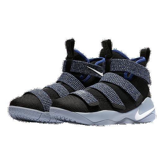 6f7dc90bfe619 Nike Kids  LeBron Soldier XI Grade School Basketball Shoes - Black White Deep  Royal Blue Glacier Grey. (1). View Description