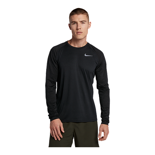 66cbe4fb39496 Nike Men's Breathe Miler Long Sleeve Running Shirt - BLACK/REFLECTIVE SILVER