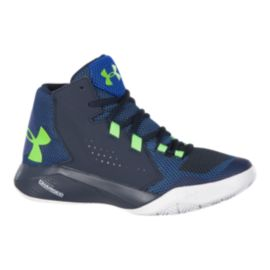 Under Armour Kids' Torch Fade Grade School Basketball Shoes - Navy/Green/White