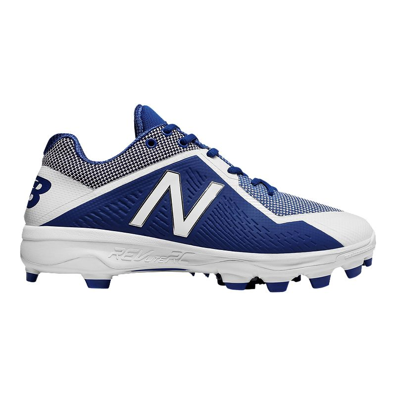 1c7d0693cedc3 New Balance Men's 4040v4 2E Wide Width Low Cut Baseball Cleats - Blue/White  (