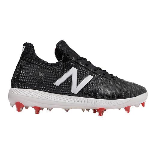 b227efe95 New Balance Men s COMPv1 Mid Cut Baseball Cleats - Black White - BLACK